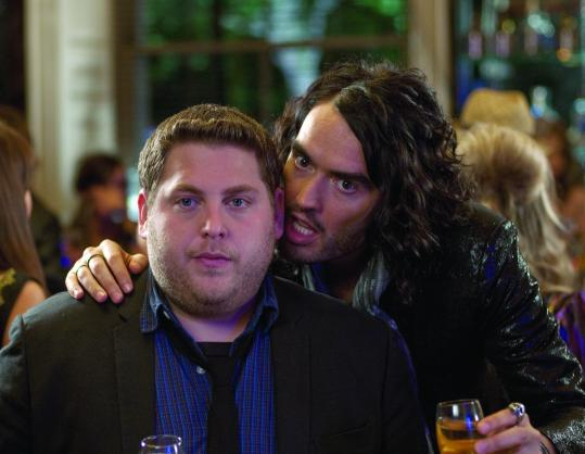 Russell Brand (right, with costar Jonah Hill) reprises his &#8220;Forgetting Sarah Marshall&#8217;&#8217; rock star role for &#8220;Get Him to the Greek.&#8217;&#8217;