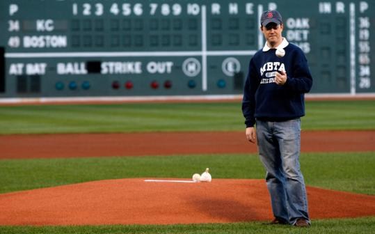 MBTA General Manager Rich Davey prepared to throw the first pitch at Friday's game in Fenway Park between the Red Sox and the Kansas City Royals.