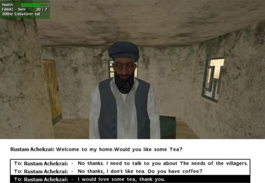One of the avatars in a virtual Afghan village created by Barry Silverman, a University of Pennsylvania professor doing work for a US government agency.