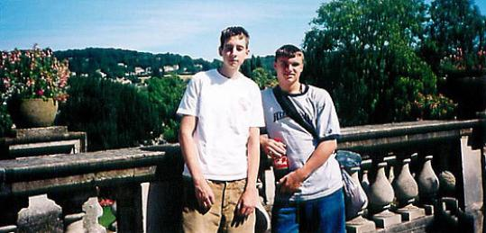 Adam Wheeler (left) and high school classmate Brent Porter posed together during a trip to Bath, England, in 2003.