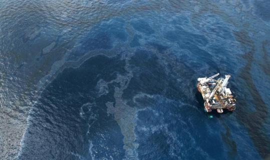 The site of the Deepwater Horizon spill is surrounded by oil. Companies from New England are helping with the cleanup.