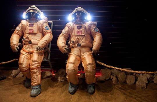 Researchers tested spacesuits on a simulated Mars surface during a training session recently at Moscow's Institute for Medical and Biological Problems.
