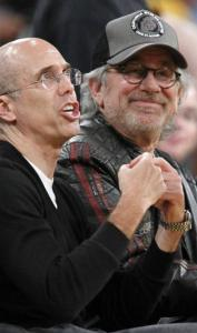 Above: DreamWorks Animation CEO Jeffrey Katzenberg (left) and director Steven Spielberg watch the action last night. Right: Actor Sylvester Stallone at the Staples Center.