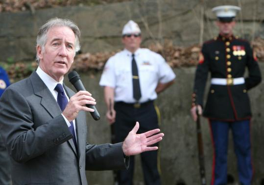 Representative Richard E. Neal, Democrat of Massachusetts, shown at a Veteran's Day ceremony in Palmer last year, has mostly preferred to operate out of the limelight, in the shadow of more quotable figures such as Barney Frank.