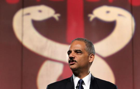 US Attorney General Eric H. Holder spoke yesterday at the National Association of Drug Court Professionals conference at the Hynes Veterans Convention Center.