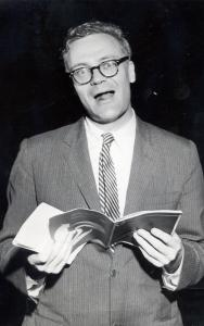 "Robert Lowell reading his poem ""For the Union Dead'' in the Public Garden 50 years ago today."