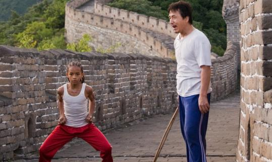"Jackie Chan (right), in a major shift from his usual role as action-movie star, takes second-billing to Jaden Smith in the remake of ""The Karate Kid.''"