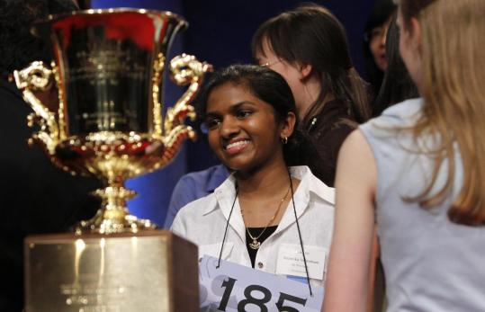 Anamika Veeramani was all smiles after winning the 2010 National Spelling Bee in Washington yesterday.