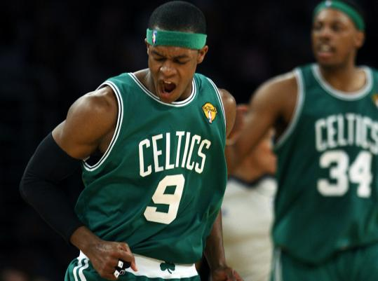 Rajon Rondo (19 points, 12 rebounds, 10 assists) is pumped after drilling his lone 3-pointer.