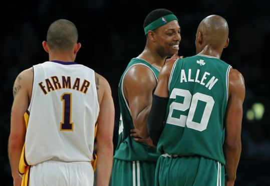 Paul Pierce did something the Lakers failed to accomplish in Game 2 — stop Ray Allen, if only just for a quick chat during the fourth quarter.