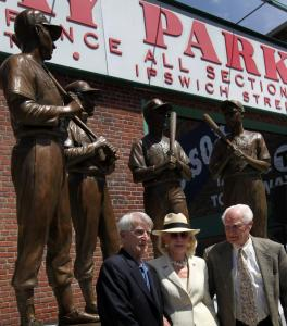 "The Sox unveiled a statue, inspired by a David Halberstam book, of ""The Teammates'' — Ted Williams, Bobby Doerr, Johnny Pesky, and Dom DiMaggio — outside Fenway Park. Attending were Pesky, DiMaggio's widow Emily, and Doerr."