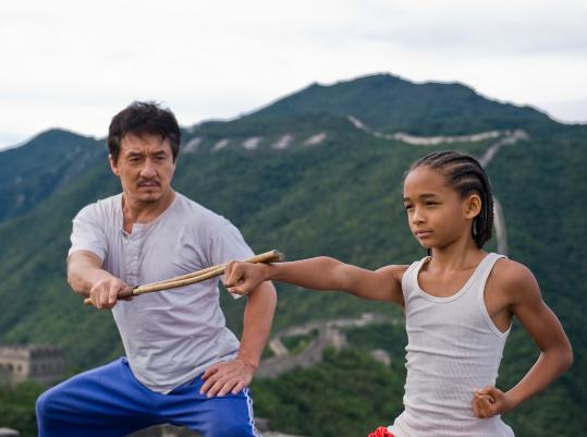 Jackie Chan plays a building super who transforms an expatriate American (Jaden Smith) into a martial-arts master capable of standing up to bullies.