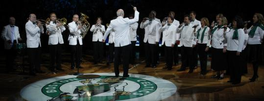 The Boston Pops perform the national anthem.