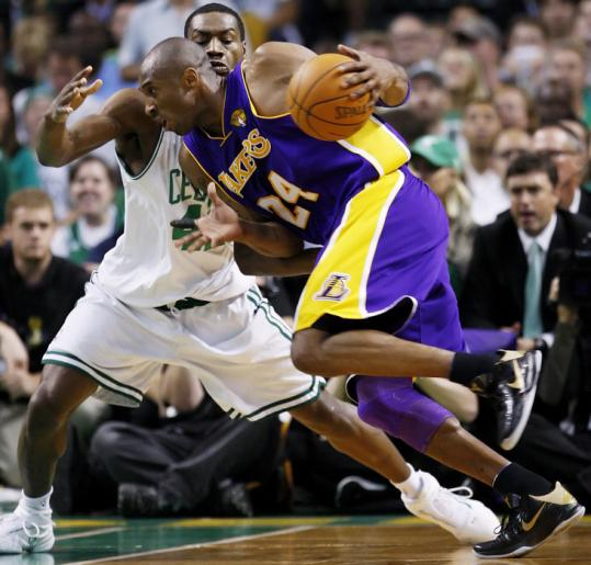 Celtic Tony Allen has a tough assignment in the first half, attempting to contain Lakers star Kobe Bryant.