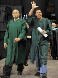 Principal John Rist (left) and Adam Sandler at Manchester Central High School's commencement.