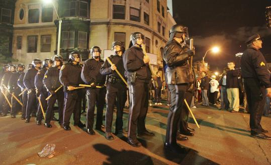 In 2004, after the Red Sox beat the Yankees to capture the American League crown, Boston police stood ready for crowds of celebrating fans to descend on Kenmore Square.