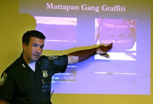 Boston police Officer Michael Sullivan gave residents at a Dorchester housing complex a primer last week on how to identify gang members.