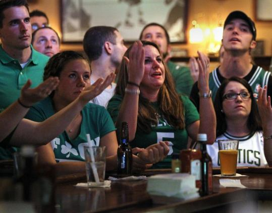 At The Four's, Dottie Beatie (center) showed her frustration last night with the poorly performing Celtics.