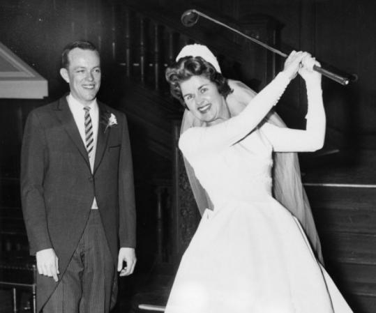 Pippy Rooney had a great swing even in her wedding dress, as she showed new husband Robert O'Connor at Harvard Club.