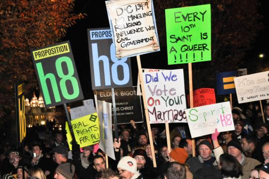 Protesters against the Mormon Church and Proposition 8, the California initiative banning gay marriage, in Salt Lake City on Nov. 7, 2008.
