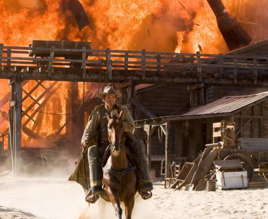Josh Brolin's Jonah Hex scowls and lumbers through a post-Civil War landscape, seeking to avenge his son's death.