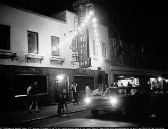 "An image from 1969 shows the Stonewall Inn in New York City's Sheridan Square. ""Stonewall Uprising'' documents the police raid of the popular gay bar that year."