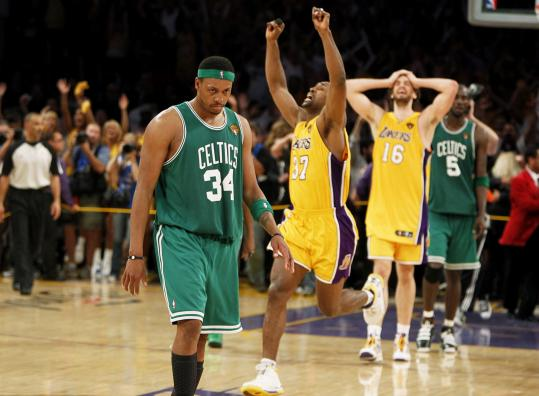 Body language told the tale last night as Celtics captain Paul Pierce left the court while Lakers rejoiced behind him.