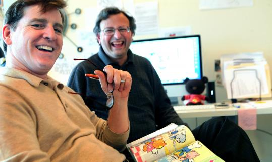 "Designer/animator Robert Palmer Jr. (left) and illustrator Mark Marderosian have seen their ""Drawing With Mark'' show connect with local cable programmers in many towns and cities."