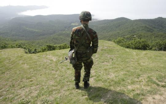 A South Korean Marine looked at North Korea while standing guard near the border earlier this month.