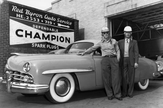 Mr. Parks (right) with Red Byron. Parks fielded the car that Byron drove to the inaugural Cup Series championship in 1949.