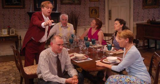 "Clockwise from bottom left: Barlow Adamson, Steven Barkhimer, Richard Snee, Jennie Israel, Sarah Newhouse, and Lindsay Crouse in ""Table Manners.''"