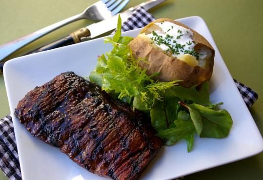 Recipe for spice-rubbed skirt steak with baked potatoes - The Boston ...