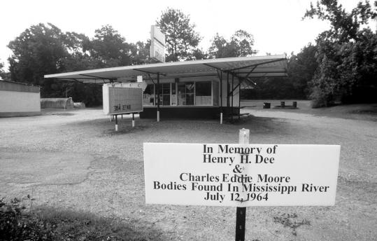 A sign in front of an ice cream stand in Meadville, Miss., marked the spot near where 19-year-olds Henry Hezekiah Dee and Charles Eddie Moore were abducted in 1964. They were killed, and their bodies were found months later in the Mississippi River.