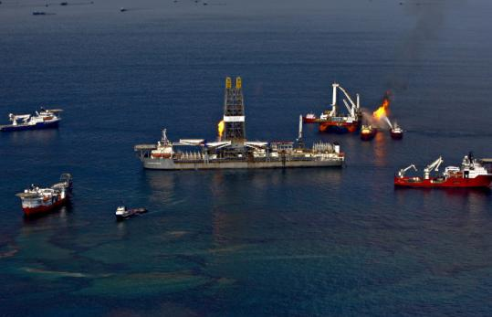 Drilling ships burned off gas and oil collected above the site of the oil leak recently in the Gulf of Mexico.