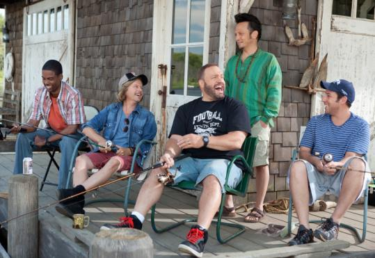 "From left: Chris Rock, David Spade, Kevin James, Rob Schneider, and Adam Sandler in ""Grown Ups.''"
