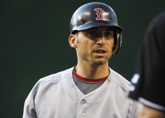 Marco Scutaro has a question for plate ump Ron Kulpa after striking out swinging in the first.