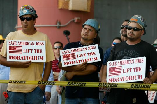 Workers opposed to the moratorium on deep-water drilling took part in a rally at Gulf Island Fabrication in Houma, La., yesterday. A federal judge who struck down the ban has refused to grant the government a stay while it appeals.