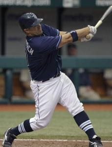 Kelly Shoppach had a big day at the plate in the Rays' victory, finishing with three hits, including a home run.