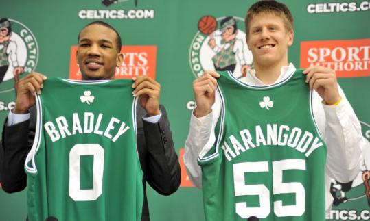 First-round pick Avery Bradley and second-rounder Luke Harangody are hoping to hang around Boston for a while.