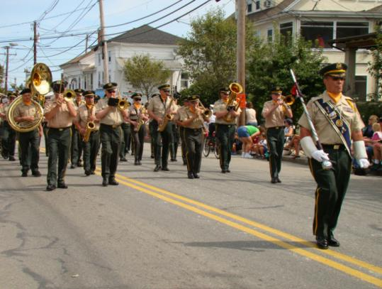 The marching band from Waltham's American Legion Post 156 performing in Marlborough's Labor Day parade last fall.