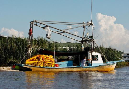 Far from the storm, a boat contracted by BP headed out to deploy oil containment booms outside Venice, La., yesterday.