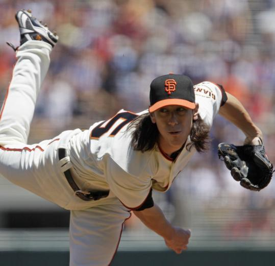 Giants starter Tim Lincecum works in the first inning; he'd only last a season-low three innings, having thrown 79 pitches.