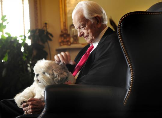 Senator Robert Byrd of West Virginia sat with his shih tzu, Trouble. He spent 12 years as Senate Democratic leader.