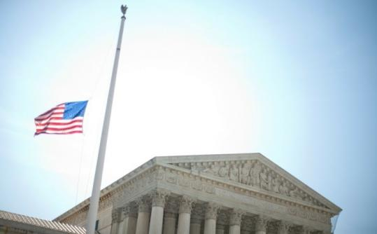 The flag outside the US Supreme Court in Washington, D.C., was flying at half staff yesterday in honor of the late senator Robert C. Byrd of West Virginia, who died earlier in the day.