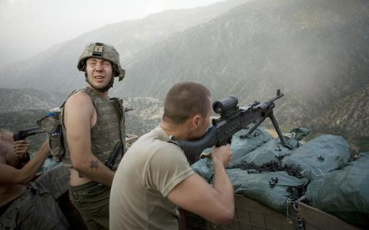 "In ""Restrepo,'' Misha Pemble is startled by the sound of gunfire during a firefight with insurgents in Afghanistan."