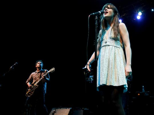 M. Ward and Zooey Deschanel, who make up the indie-folk group She & Him, performing at House of Blues.