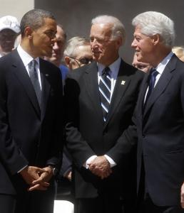 President Obama, Vice President Joe Biden, and former president Bill Clinton at the memorial service for Senator Robert Byrd yesterday. B