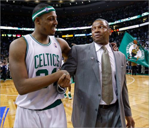 Pierce's foray into free agency didn't last long. Just two days after opting out of a $21.5 million paycheck in 2010 -- the same day Doc Rivers (right) announced he'd return to coach the team in 2010-11 -- Pierce and the Celtics were working on a new deal that would keep him in Boston for four more years.