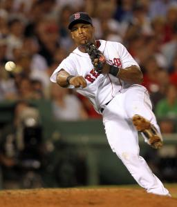 Red Sox third baseman Adrian Beltre throws out Julio Lugo at first base in the seventh inning.