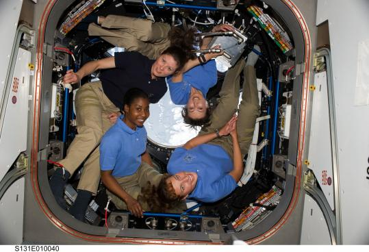 Clockwise from lower left: Stephanie Wilson, Tracy Caldwell Dyson, Naoko Yamazaki, and Dorothy Metcalf-Lindenburger on the space shuttle Discovery's April flight.